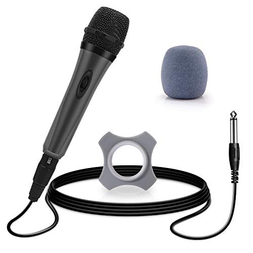 Wired Karaoke Micrphones,Handheld Dynamic Vocal Microphone,Unidirectional Mic for Singing with On/OFF Switch and 10ft Detachable XLR Cable for Voice Amplifier,PA System, Singing Machine, Church(Gray)