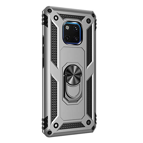 Hicaseer Capa para Huawei Mate 20 Pro, policarbonato + TPU antiqueda antichoque anti-arranhões magnético rotação de 360 graus cobertura total para Huawei Mate 20 Pro – Prata