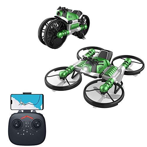 HYE 2 in 1 rc Drones Giocattolo Moto Mini Drone con Fotocamera WiFi Modello Senza Testa Doppia deformazione 360 ° Flips Quadcopter Il miglior Regalo per Bambini Ragazzi Ragazze Principianti Verde