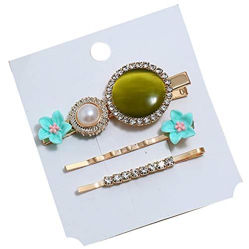 Lot de 3 épingles à cheveux pour femme - Fleurs rondes imitation opale incrustées de strass - Cadeau idéal pour vos amis ou votre famille