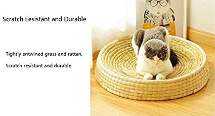 Comfortable Pet Scratcher Bed for Cats or Small Dogs S Environmentally Friendly Cat /& Dog Bed Scratcher Natural Straw Cat and Dog Cushion Bed