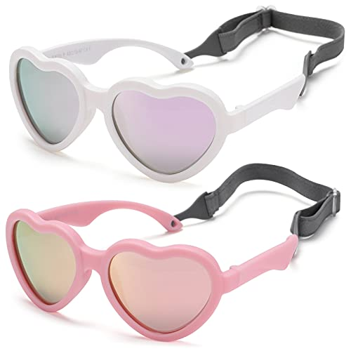 Flexible Heart Shaped Baby Polarized Sunglasses with Strap Adjustable Toddler & Infant Age 0-24 Months (White/Purple Mirrored + Pink/Pink Mirrored) - 2 Pack