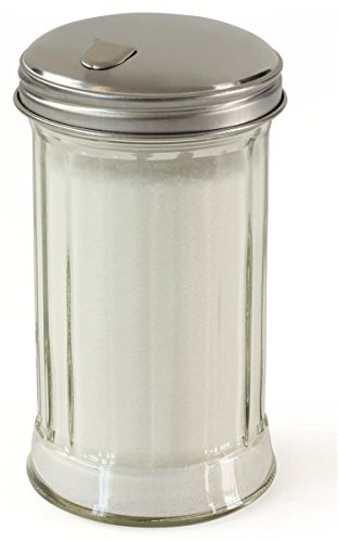 Set of 12, 12-Ounce Bulk Sugar Dispenser, Stainless Steel Flip Spout, Thick-Walled Glass, Grooved Sides, Dishwasher Safe