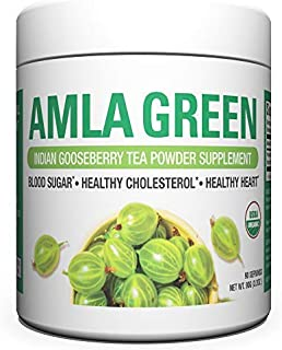 Organic AMLA GREEN Tea Powder � Great Tasting, 20x Concentrated Amla + Oolong Tea Antioxidant Blend � Raw, Vegan, Organic, Non-GMO, Amla Powder