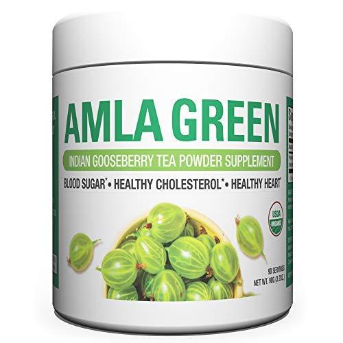 Organic AMLA GREEN Tea Powder – Great Tasting, 20x Concentrated Amla + Oolong Tea Antioxidant Blend – Raw, Vegan, Organic, Non-GMO, Amla Powder (90 servings)
