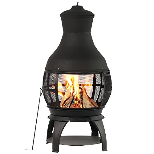 Check Out This BALI OUTDOORS Outdoor Fireplace Wooden Fire Pit, Chimenea, Black