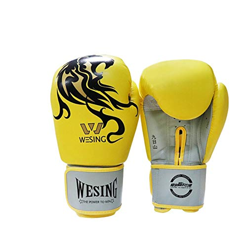 ZHONGYUE Boxing Gloves, Sanda Gloves, Muay Thai Gloves, Sandbags, Martial Arts Gloves, Best Gift Sports, (Color : Yellow, Size : 12oz)
