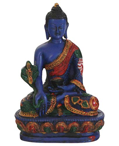 Buddha Groove Blue Medicine Buddha Statue with Colorful Details, Hand-Crafted in Nepal