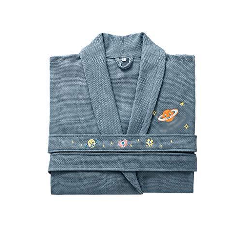 Albornoz de algodón de lujo para mujer, ropa de cama cálida para el hotel, el hogar, spa, batas de baño para mujer (color: azul, talla mediana)