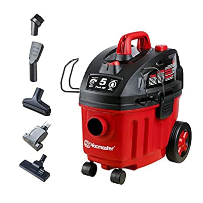 Vacmaster Shop Vac 5 Peak HP 4 Gallon Wet Dry Vacuum Cleaner with Heap Filter 2-Stage Motor Auto Cord Rewind for Powerful Suction and Quiet Operation