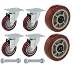 U-Boat Cart Caster and Wheel Replacement Kit | Includes 4 Corner Casters and 2 Center Wheels with Axles and Mounting Bolts