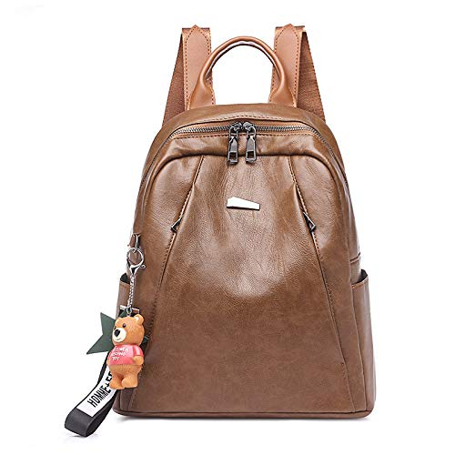 Buy and buy at Brandon Fashion Backpack Simple Solid Color Retro Large Capacity Backpack Soft Face PU Female BagCaramel oakA