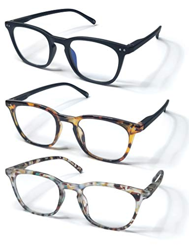 KIYOJIN 3Pair Reading Glasses Blue Light Blocking Fashion Design with Elastic Hinge for Women Men BlackLeopardBlue Leopard 10