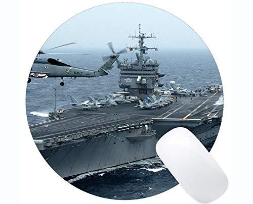 Yanteng Alfombrilla de ratón Redonda con Borde Cosido, USS Enterprise (CVN 65) Ordenador de Guerra tamaño King de PC de Guerra tamaño King Ratón Redondo
