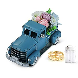 Vintage Blue Truck with Artificial Flowers & Fairy Lights Decorations, Farmhouse Pick-up Metal Truck Spring Decorations & Decorative Dining Table Centerpiece