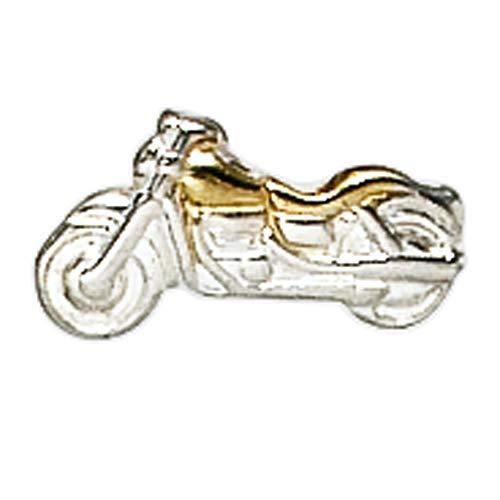 JOBO Herren-Einzel-Ohrstecker Motorrad aus 925 Silber Bicolor vergoldet