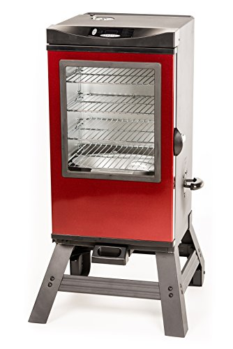 Masterbuilt 20076716 4-Rack Digital Electric Smoker with Leg Kit Cover and Gloves, 30', Cinnamon