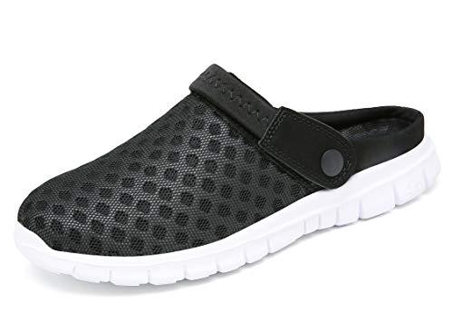 CELANDA Pantofle unisex, przepuszczające powietrze siateczkowe pantofle na lato, na plażę, antypoślizgowe buty do kąpieli, buty do ogrodu, buty Slip-On Aqua buty dla mężczyzn i kobiet, czarny - czarno-biały - 40 EU