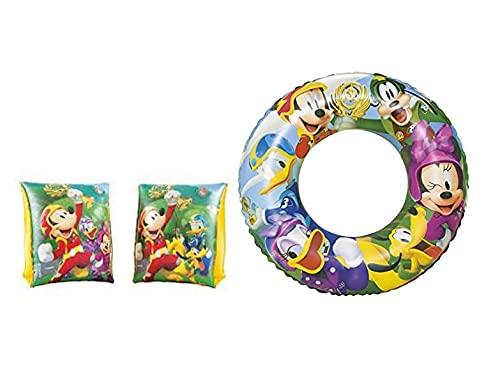 Set Infantil para Piscina de Mickey Mouse. Flotador Hinchable y Manguitos hinchables. Buen Vinilo, Resistente al Agua y Rayos UV. con válvulas de Seguridad para la máxima Seguridad de los niños. ⭐