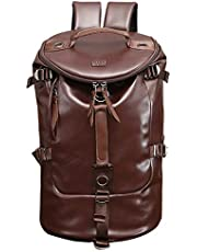 Large Capacity Casual Backpack | Luxury PU Leather with Wide Mouth | Duffel Sports Gym Bag, Vintage style Travel Backpack, Rucksack, | One Size | Water Resistant (Brown))