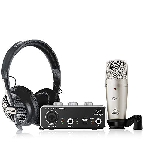 Behringer U-PHORIA STUDIO Complete Recording/Podcasting Bundle with Usb Audio Interface, Condenser Microphone, Studio Headphones