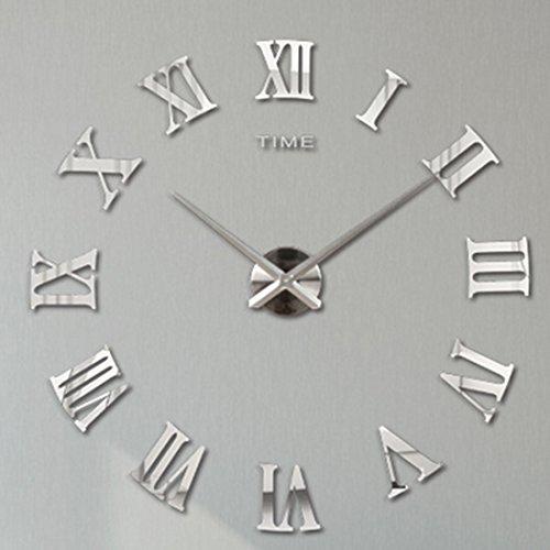 Lommer Wall Clock, 3D DIY Art Clock Roman Numerals Frameless Mirror Surface Wall Clock Home Decor (Silver)