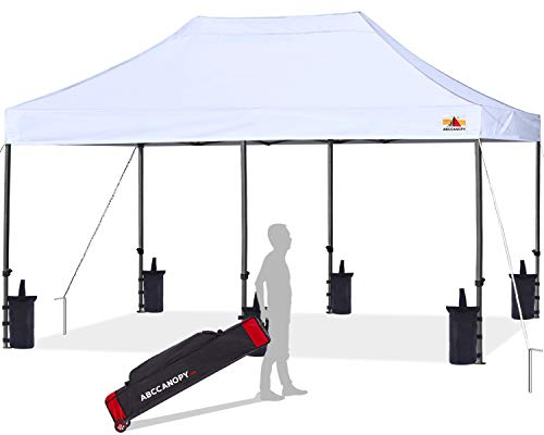 ABCCANOPY Pop up Canopy Tent Commercial Instant Shelter with Wheeled Carry Bag, Bonus 6 Canopy Sand Bags, 10x20 FT (White)