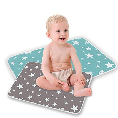 Kylewo 2 stuks waterdichte wasbare babyonderlegger voor baby's en peuters, wasbaar incontinentiekussen, herbruikbare urine mat, draagbaar, wasbaar babybed