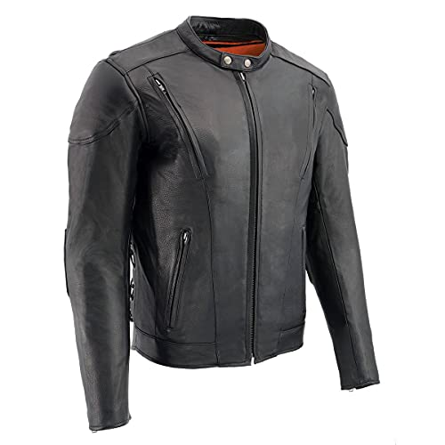 Milwaukee Leather LKM1765 Men's Black Vented Scooter Leather Jacket with Side Laces - Large