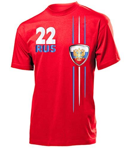 Russland ?????? Russia Fan t Shirt Artikel 4312 Fuss Ball EM 2020 WM 2022 Team Trikot Look Flagge Fahne Jersey World Cup Männer Herren Jungen L
