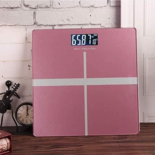 L-YINGZON Escalas Báscula de baño electrónica Escala, Peso Digital Home Piso Body Balance Salud con Pantalla LCD, 400 Libras Rosa 180Kg /