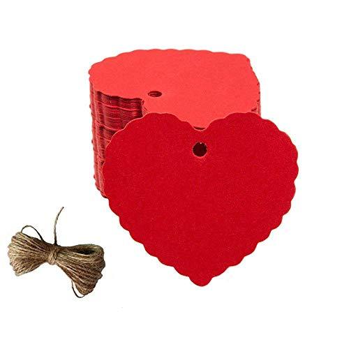 200 etiquetas de papel kraft con forma de corazón en tono melocotón, etiquetas de regalo con cordel de yute natural para Navidad, boda, Acción de Gracias, cumpleaños, día festivo, regalos