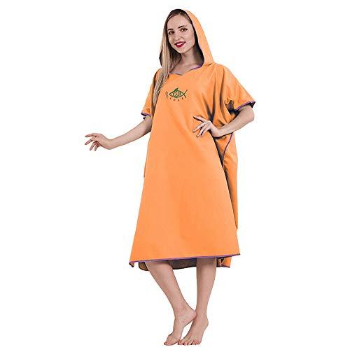 Toalla de baño para adultos con capucha Toalla de natación Toallas de playa Poncho Albornoz Mujer Hombre de gran tamaño Color caramelo Bata de baño Cuerpo de ducha Capucha Naranja