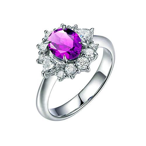 Bishilin Anillos de Promesa Plata de Ley S925 para Mujeres Ajuste Cómodo Anillos de Amistad Púrpura Oval Cristal Piedra del Zodíaco Anillo de Compromiso de Boda con Bolsa de Joyeríaplata Talla: 25