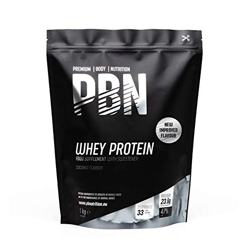 PBN Premium Body Nutrition - Proteína de suero de leche en polvo, 1 kg (Paquete de 1), sabor Coco, sabor optimizado