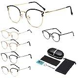 2021 lunettes pénétrantes de haute technologie, lunettes d'ordinateur anti-éblouissement yeux de chat bloquant la lumière bleue, mieux dormir pour les femmes hommes. (Or rose)