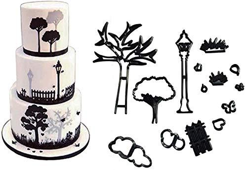 Xfaiz Ausstechformen für Fondant, 9-teiliges Set für Hochzeit/Hochzeit/Hochzeit/Verlobung/Kuchen-Dekoration, Sugarcraft