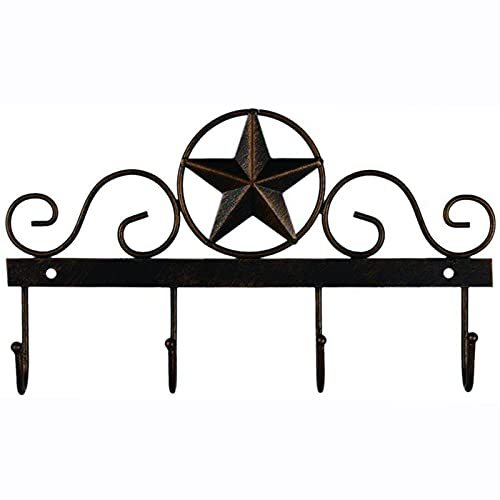 EBEI Metal Barn Star Key Rack Holder Wall Mounted Metal Decorative 10' Vintage Key with 4 Hooks Dark Brown Western Home Wall Decor