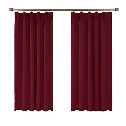 UMI. by Amazon - Cortinas Dormitorio Moderno Opacas Salon Moderna Termicas Aislantes Frio y Calor para Ventanas Rusticas Suave y Elegante Fruncido 117 x 138 cm Rojo Oscuro