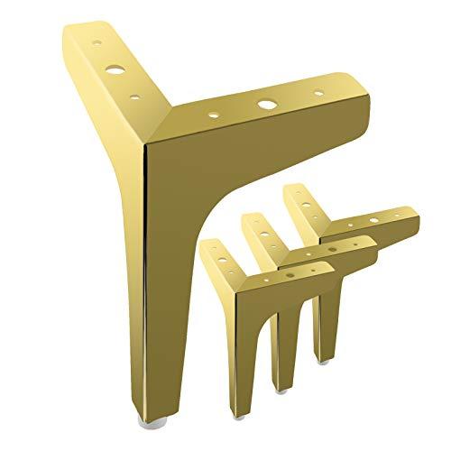 MOROBOR 4 dreieckige Möbelbeine, 15 cm, modern, Metall, verchromt, Sofa-Beine für Schrank, Tisch, Schrank, Couch, Sofa (Gold)