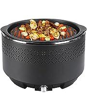 Rookvrije houtskoolbarbecue, draagbare tafelgrill met micro-stroomvoorziening, interface, op batterijen werkende ventilator, outdoor grill, BBQ voor balkon, camping, picknick, convient 2 à 5 personen