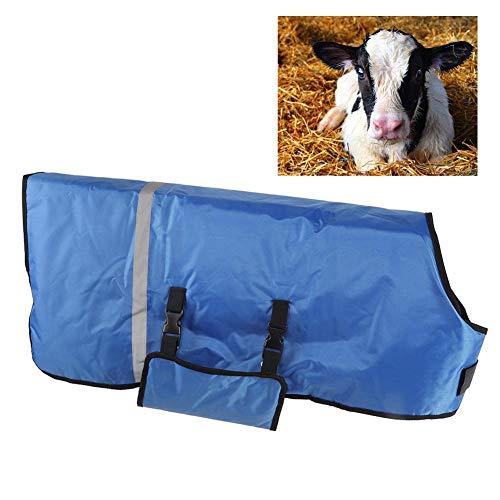Hffheer Oxford Cloth Becerro Abrigo Manta Impermeable Vaca Oveja Cabra Ropa Chaqueta de Becerro a Prueba de Viento con Tiras Reflectantes para Suministros de Animales de Granja