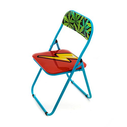 Seletti Blow Flash Chaise Pliante avec décor Foudre