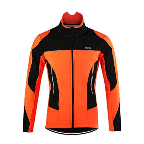 emansmoer Homme Résistant à l'eau Respirant Veste de vélo Cyclisme Cycliste Coupe-Vent Doublé Polaire Mantel Vêtements de Sport (XXX-Large, Orange)