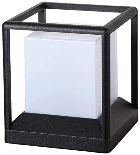 Panelk Square E27 Negro acrílico al Aire Libre Pilar Lámpara Impermeable Simple Moderna de Aluminio del Metal de la lámpara de la Calle Pilar Villa Jardín de,S