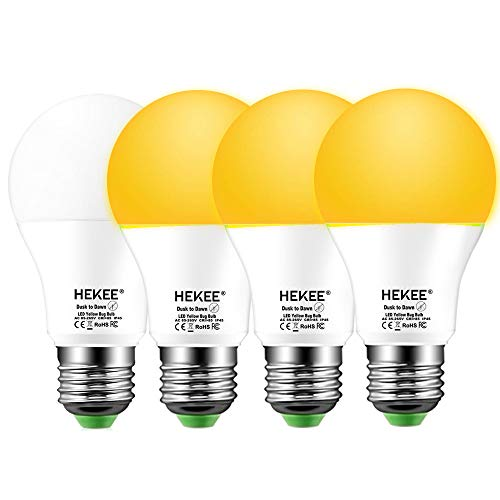 Dusk To Dawn Light Bulbs A19 8W 720 Lumens, Amber LED Orange-Yellow Sensor Bulb, 60 Watt Equivalent, Outdoor, Security Bulb(Auto On/Off), E26 Screw Base(4 Pack)