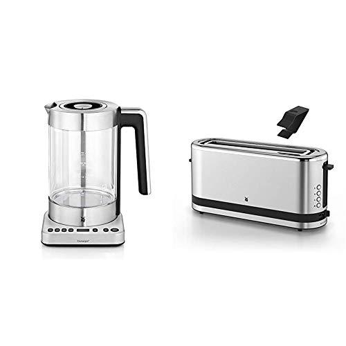 WMF Lono 2 in 1 Vario Wasserkocher, mit Temperatureinstellung, 1,4 - 1,7 l, 3000 W & Küchenminis Toaster Langschlitz mit Brötchenaufsatz, 900 W, XXL Toastscheiben, Toaster edelstahl matt