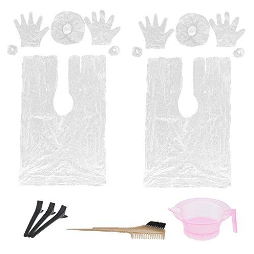 MagiDeal Kit Outils pour Coloration / Teinture des Cheveux en Plastique Housse d'Oreille Cape Bol Brosse à Cheveux Clips Gants Caps