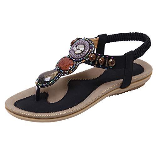 Sandalias de mujer bohemias Flip Flop Flat Dress Sandalias Beach Thong Gladiator, color Negro, talla...
