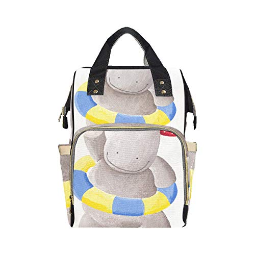 Big Swimming Hippo Lovely Animal Modern Backpack Diaper Bag Mom Dad Changing Large Capacity Multi-function Nappy Bag Diaper Bag For Baby Girl Boy